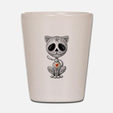 Gray Zombie Sugar Skull Kitten Shot Glass
