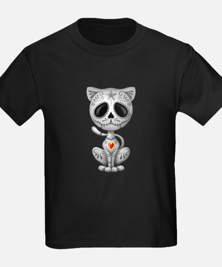 Gray Zombie Sugar Skull Kitten T-Shirt