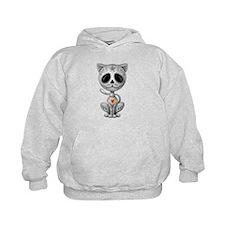 Gray Zombie Sugar Skull Kitten Hoodie