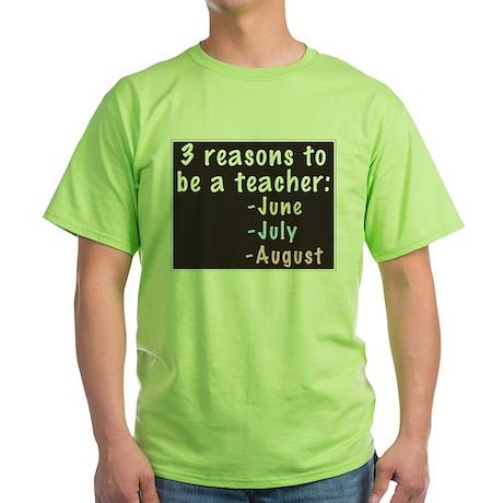 Reasons to be a Teacher Green T-Shirt
