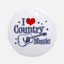 I Love Country Music Ornament (Round)