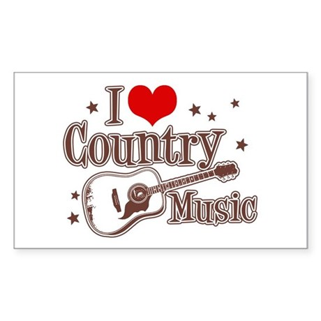 I Love Country Music Rectangle Sticker