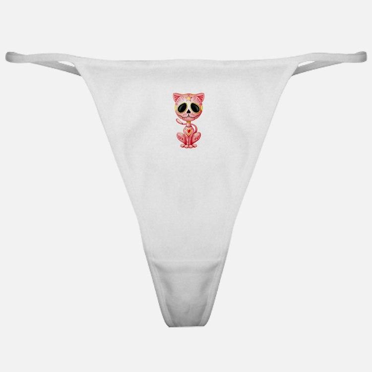 Pink Zombie Sugar Skull Kitten Classic Thong