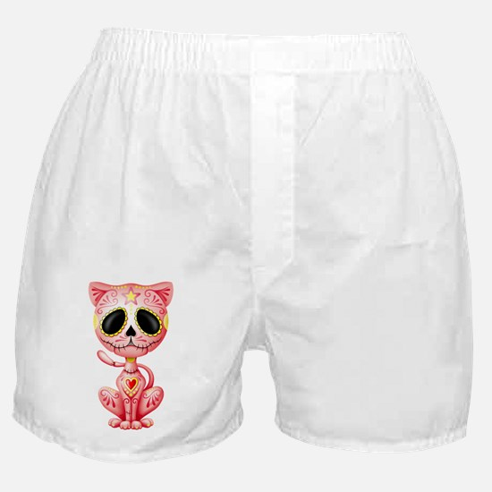 Pink Zombie Sugar Skull Kitten Boxer Shorts