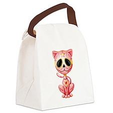 Pink Zombie Sugar Skull Kitten Canvas Lunch Bag