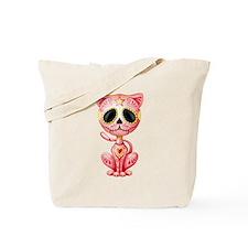 Pink Zombie Sugar Skull Kitten Tote Bag