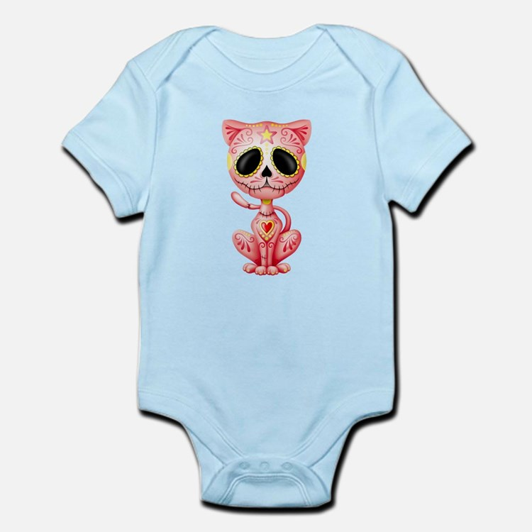 Pink Zombie Sugar Skull Kitten Body Suit