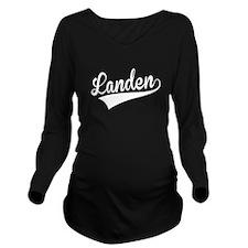 Landen, Retro, Long Sleeve Maternity T-Shirt