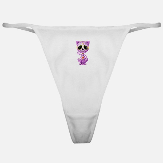 Purple Zombie Sugar Skull Kitten Classic Thong