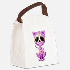 Purple Zombie Sugar Skull Kitten Canvas Lunch Bag
