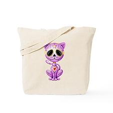 Purple Zombie Sugar Skull Kitten Tote Bag