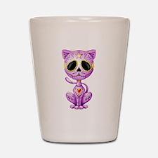 Purple Zombie Sugar Skull Kitten Shot Glass