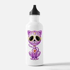 Purple Zombie Sugar Skull Kitten Water Bottle