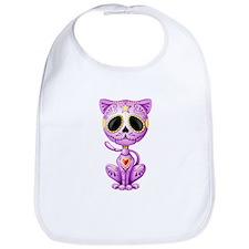 Purple Zombie Sugar Skull Kitten Bib