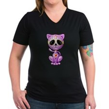 Purple Zombie Sugar Skull Kitten T-Shirt