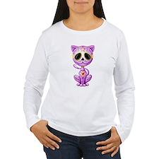 Purple Zombie Sugar Skull Kitten Long Sleeve T-Shi
