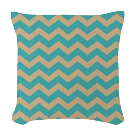 Tan and Blue Chevron Woven Throw Pillow by chevroncitypart2