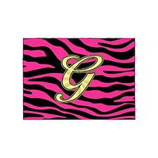 HOT PINK ZEBRA GOLD G 5'x7'Area Rug