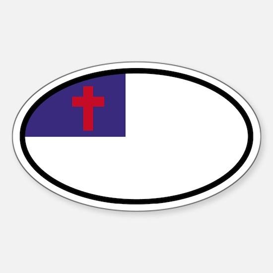 Christian Flag Oval Oval Decal