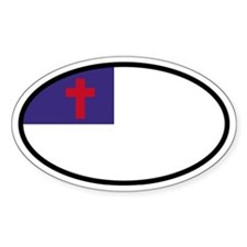 Christian Flag Oval Oval Stickers