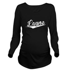 Layne, Retro, Long Sleeve Maternity T-Shirt