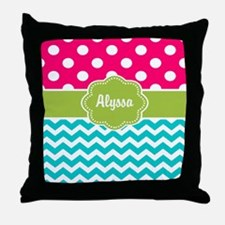 Pink Green Teal Chevron Personalized Throw Pillow