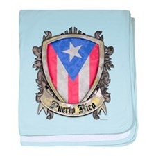 Puerto Rico Flag - Shield Crest baby blanket