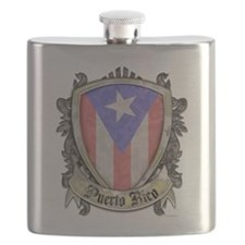 Puerto Rico Flag - Shield Crest Flask