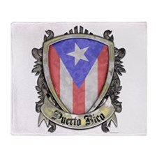 Puerto Rico Flag - Shield Crest Throw Blanket