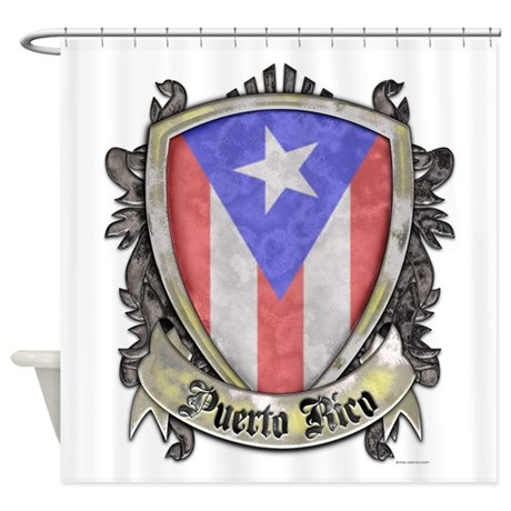 Puerto Rico Flag Shield Crest Shower Curtain By Steelcrossgraphics