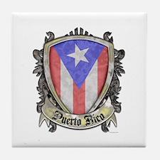 Puerto Rico Flag - Shield Crest Tile Coaster