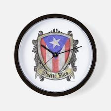 Puerto Rico Flag - Shield Crest Wall Clock