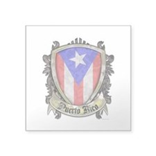 "Puerto Rico Flag - Shield C Square Sticker 3"" x 3"""