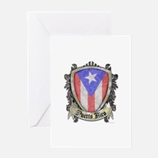 Puerto Rico Flag - Shield Crest Greeting Card
