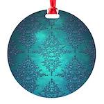 Teal Turquoise Fancy Floral Damask Pattern Ornamen