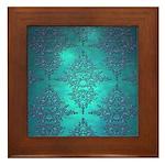 Teal Turquoise Fancy Floral Damask Pattern Framed
