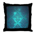 Teal Turquoise Fancy Floral Damask Pattern Throw P