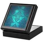 Teal Turquoise Fancy Floral Damask Pattern Keepsak