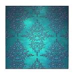 Teal Turquoise Fancy Floral Damask Pattern Tile Co