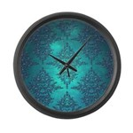 Teal Turquoise Fancy Floral Damask Pattern Large W