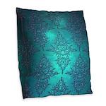 Teal Turquoise Fancy Floral Damask Pattern Burlap