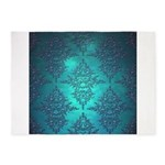 Teal Turquoise Fancy Floral Damask Pattern 5'x7'Ar
