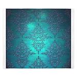 Teal Turquoise Fancy Floral Damask Pattern King Du