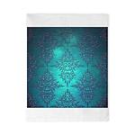 Teal Turquoise Fancy Floral Damask Pattern Twin Du