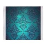 Teal Turquoise Fancy Floral Damask Pattern Throw B
