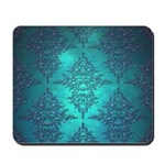 Teal Turquoise Fancy Floral Damask Pattern Mousepa