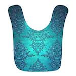 Teal Turquoise Fancy Floral Damask Pattern Bib