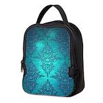 Teal Turquoise Fancy Floral Damask Pattern Neopren