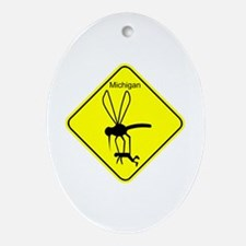 Mich State Bird Mosquito Ornament (Oval)