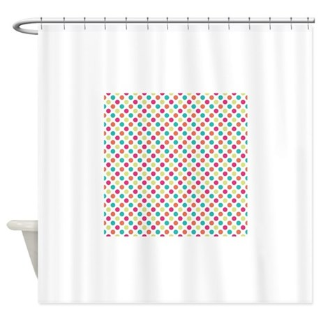 cute colorful polka dots pattern shower curtain by